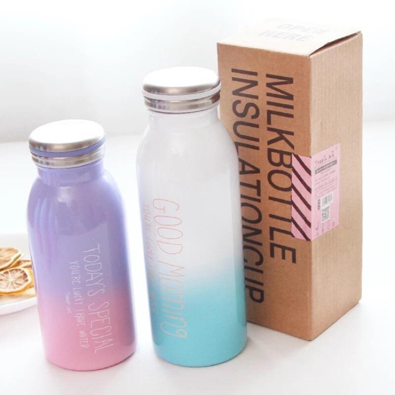 韓國彩色漸層色保溫瓶 水壺Good morning 不鏽鋼保溫杯攜帶瓶水杯牛奶瓶可愛潮流