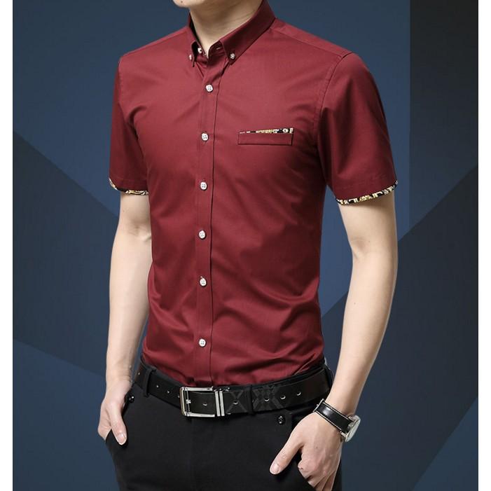 男士短袖襯衫衣服青年修身寸 休閒純棉商務白純色短袖襯衣