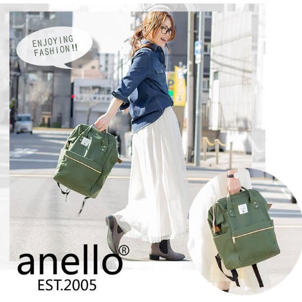anello 大容量大開口後背包牛津布_ 深草綠色KH (大小款)_實品拍攝