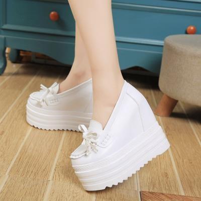 女鞋內增高春夏蝴蝶結套腳小白鞋高跟護士鞋 松糕厚底坡跟單鞋