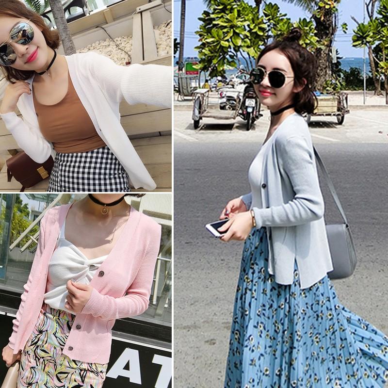 ❤白色、粉色有 ❤2016  純色薄款針織衫女開衫短款外套防曬衣外搭空調衫