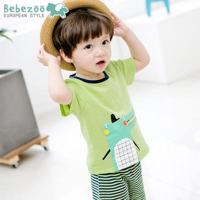 唯唯 韓國 bebezoo 夏款男童鱷魚條紋家居服上衣短褲兩件套80 110cmZ0055