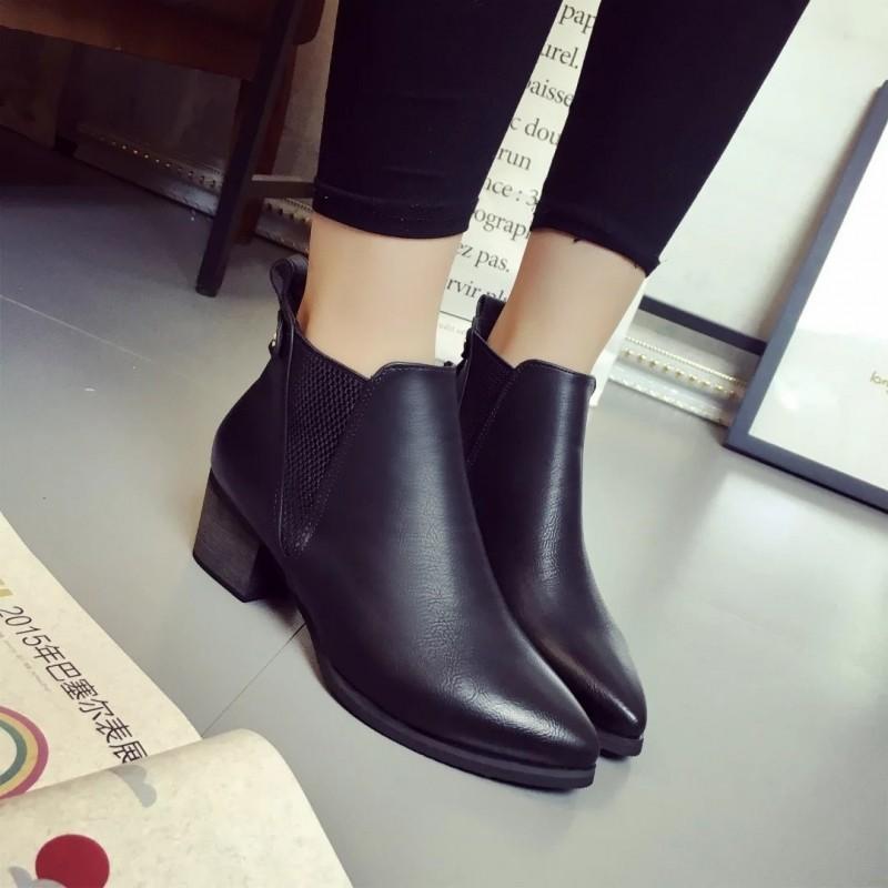 馬丁靴女單靴春秋短靴英倫風短筒靴粗跟高跟鞋尖頭單鞋女灰色