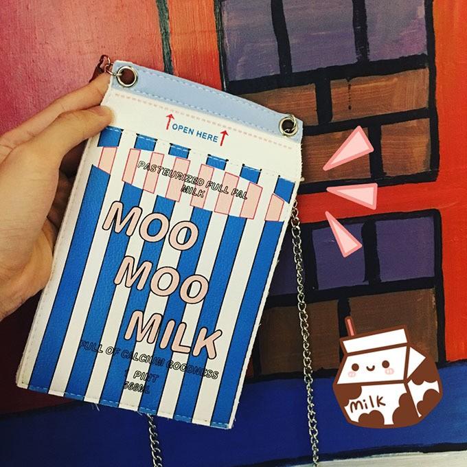 韓國軟妹可愛卡通牛奶小包條紋斜挎包單肩鏈條手機包