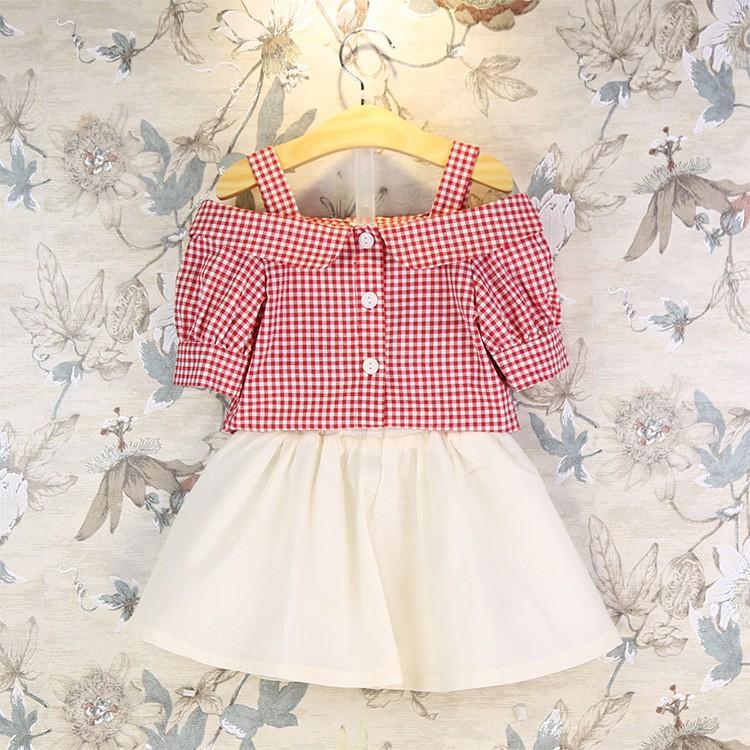 女寶專屬✨俏皮可愛吊帶露肩格紋襯衫棉麻短裙套裝