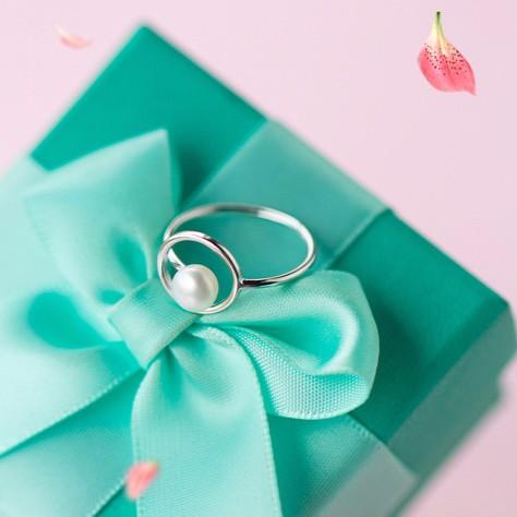 純銀飾品s925 純銀戒指女 天然淡水珍珠戒指簡約圓形線條幾何戒指女J2585