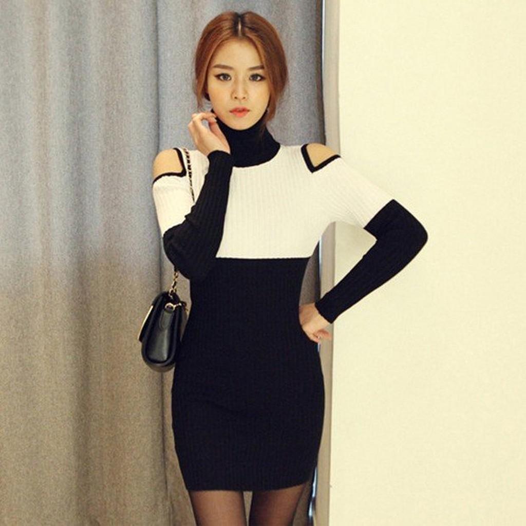 5 折 MF001 韓國原單優雅大方黑白高腰撞色直紋針織衫翻折高領露肩長袖洋裝