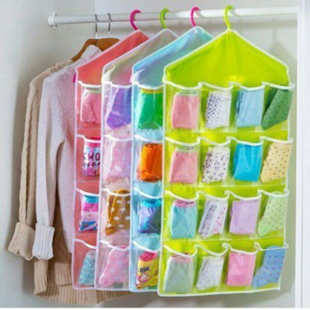 馬卡龍糖果色透明16 格衣櫃內衣掛袋內褲襪子分層分類整理袋多用途內衣褲襪子收納袋拖鞋收納袋