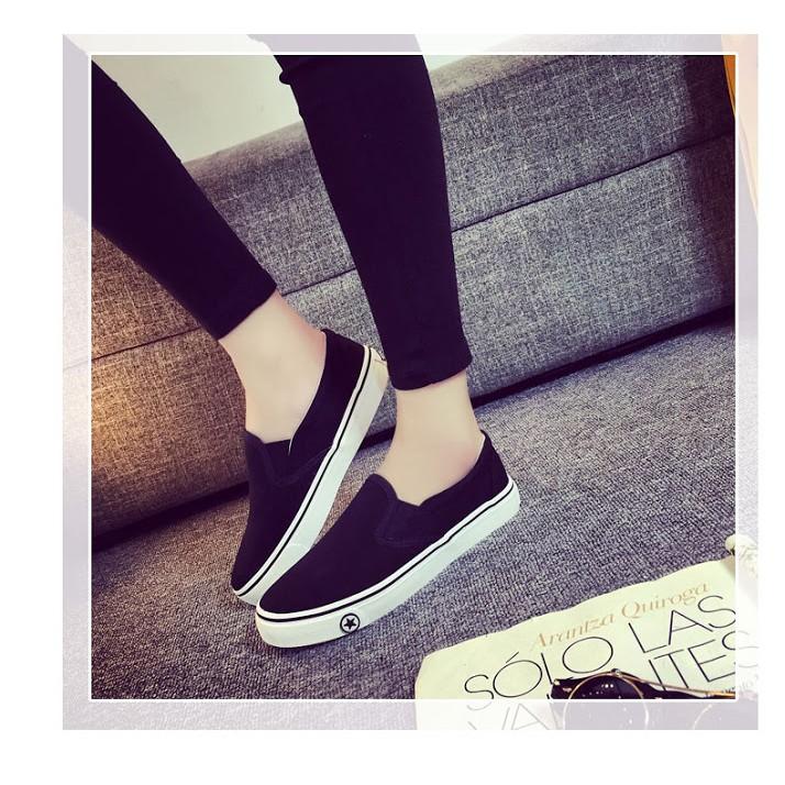 卡哇伊小舖黑白男女情侶鞋休閒鞋懶人鞋帆布鞋