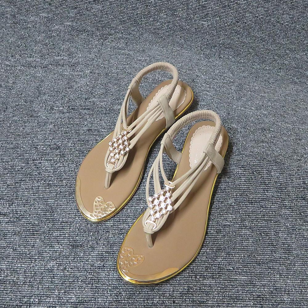 金邊水鑽舒適鬆緊帶夾腳涼鞋