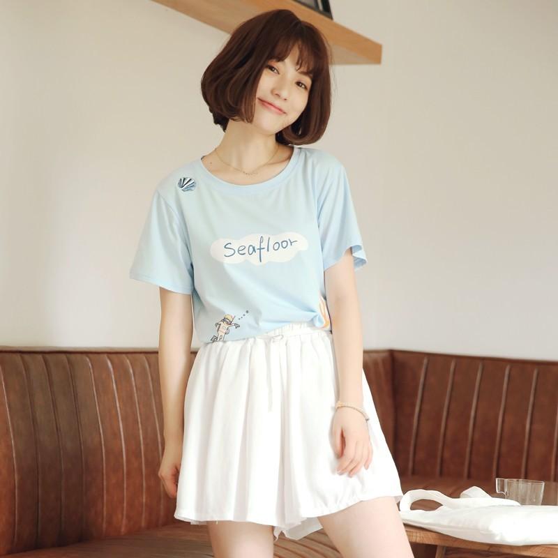 日系◆森林系小清新水藍色調海洋潛水珊瑚貝殼印花休閒短袖T 恤