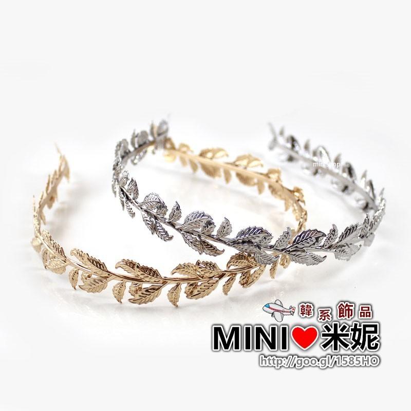 C12 ~MiNi ❤米妮~韓國森林系氣質唯美金屬樹葉髮箍~金色銀色 風 新娘婚紗頭飾髮飾