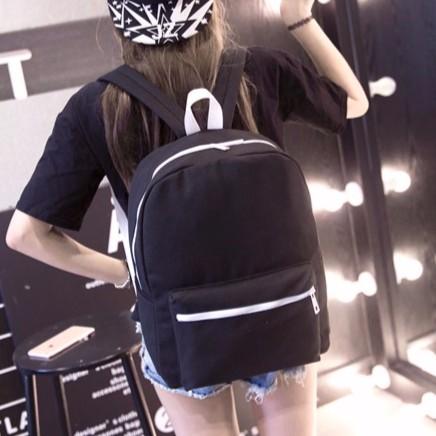 書包 尼龍防水純色學院風後背包白邊拉鏈大容量休閒背包學生背包學生價