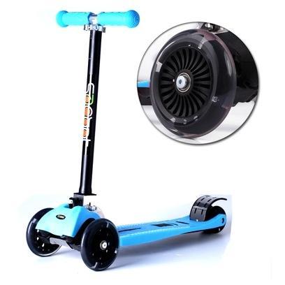 瑞士scooter 兒童滑板車四輪發光可調整高度可折疊超穩固安全!!