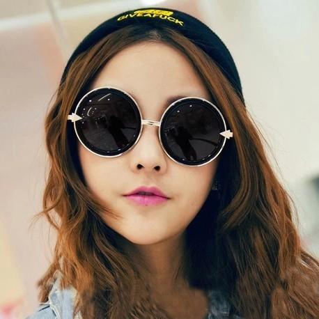 街頭風圓形金屬箭頭太陽眼鏡修臉大圓框墨鏡復古潮女太陽鏡