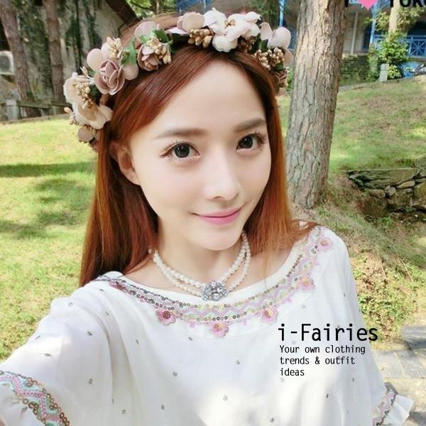 花環頭飾髮飾花圈頭花海邊度假花朵伴娘裝飾~ifairies ~SL29539 ~