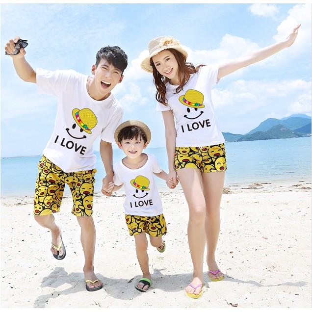 沙灘兒童親子裝夏裝套裝潮休閒款笑臉母子裝一家三口母女裝全家裝