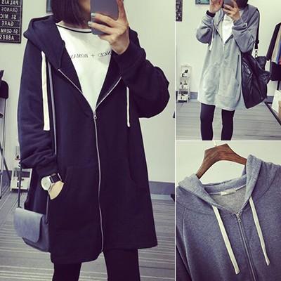 ❤灰色 ❤2016 秋裝 寬鬆顯瘦中長款長袖連帽衛衣女 潮學生開衫外套