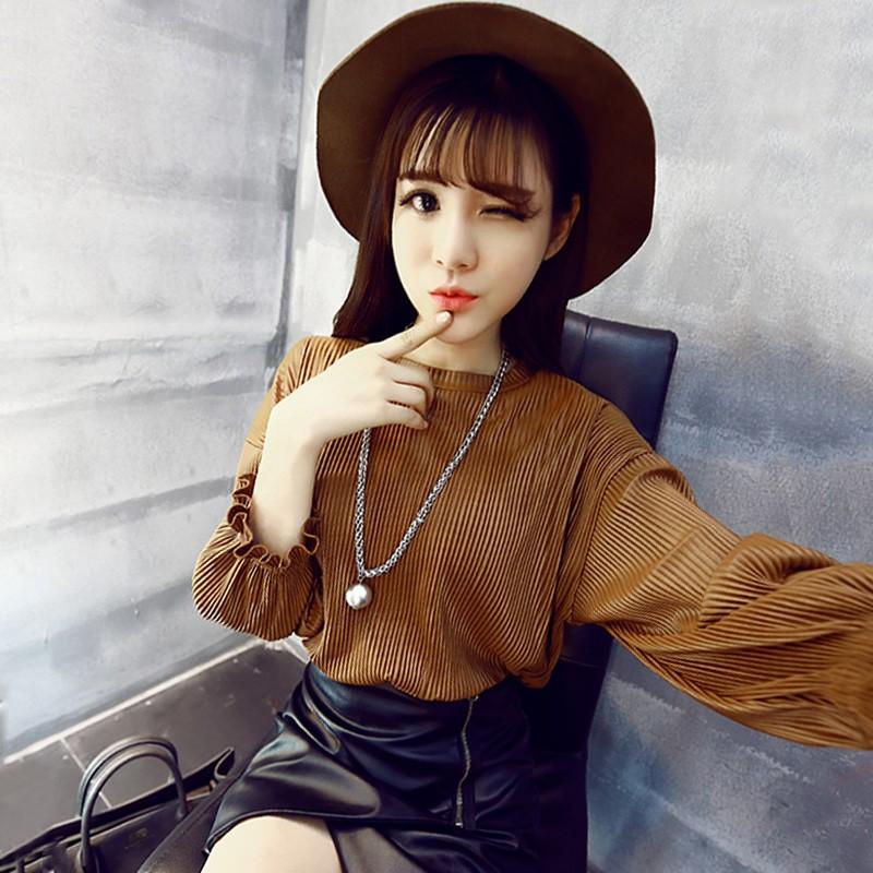 T 恤女長袖上衣2016  氣質百搭純色寬松顯瘦圓領百褶燈籠袖上衣T 恤女長袖上衣針纖上衣