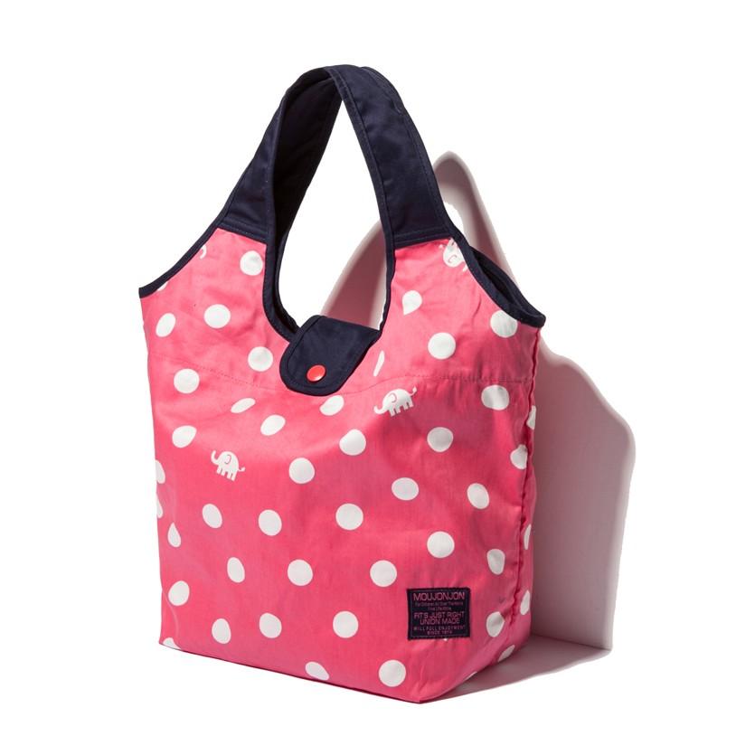 日單MOUJONJON 大象水玉圓點粉嫩果莓大容量單肩包側背包大象包學生包休閒包
