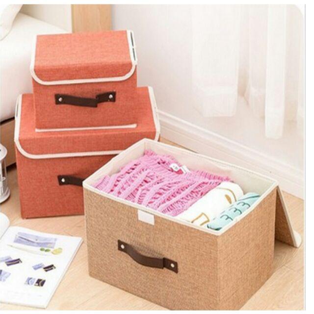 愛妮 ~純色亞麻布折疊收納箱有蓋帶拉手衣服雜物玩具整理箱