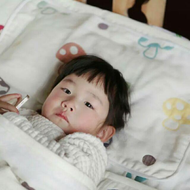 定制版純棉彩棉六層紗布蘑菇枕巾嬰幼兒童夏涼被枕巾6 層紗毛巾35 55cm