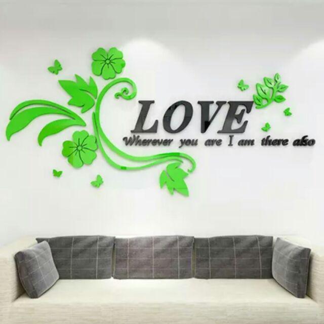 浪漫裝飾LOVE 花藤3D 壓克力立體壁貼
