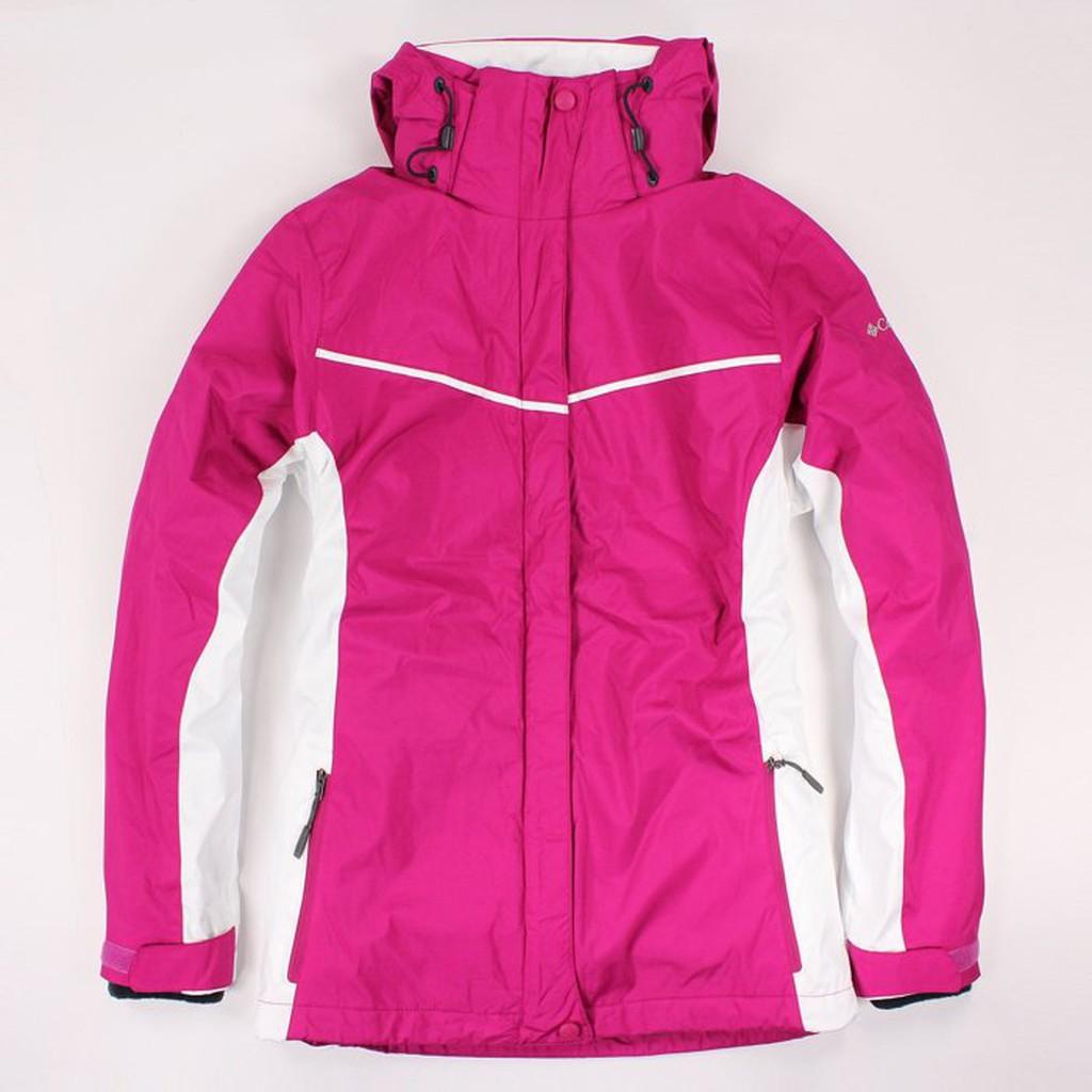 美國百分百【全新真品】Columbia 外套 夾克 連帽 哥倫比亞 洋紅色 兩件式 防水 女 L號 E480
