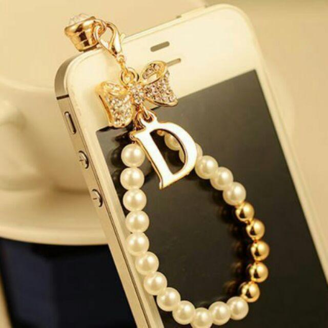 字母D 水鑽珍珠耳機孔防塵塞