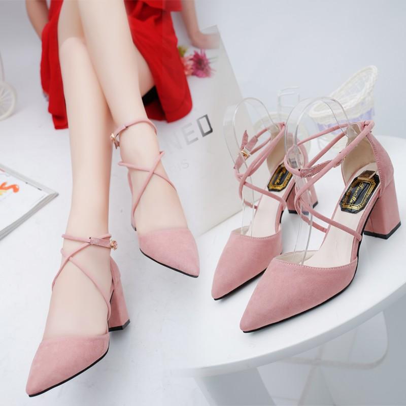 春秋 尖頭鞋高跟鞋中跟女式甜美粉色單鞋粗跟綁帶百搭涼鞋