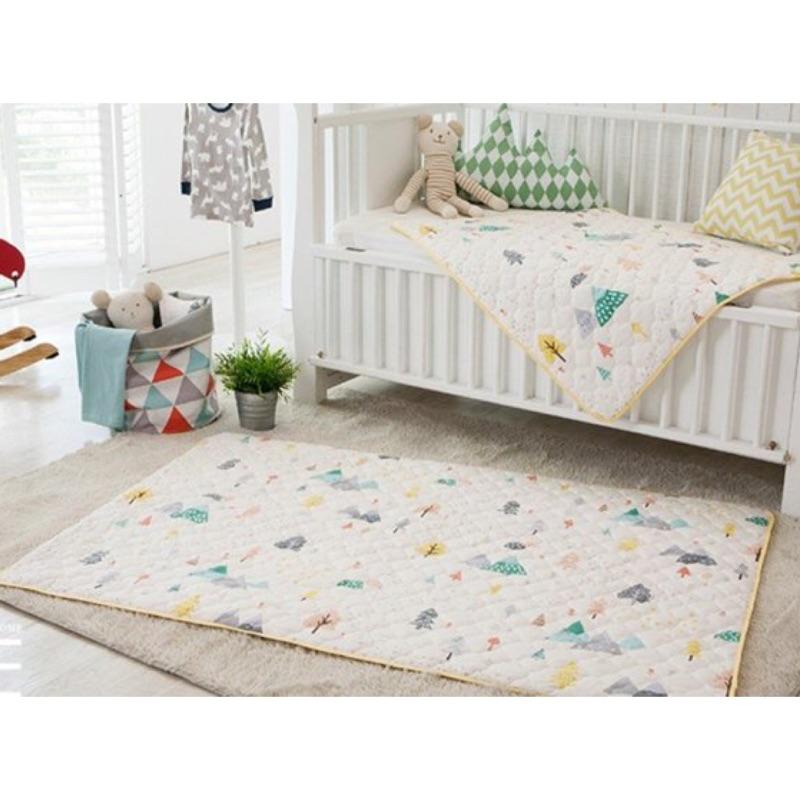 韓國PRIELLE 彩色小樹款嬰幼童床墊純綿防水尿布墊遊戲地墊保潔墊