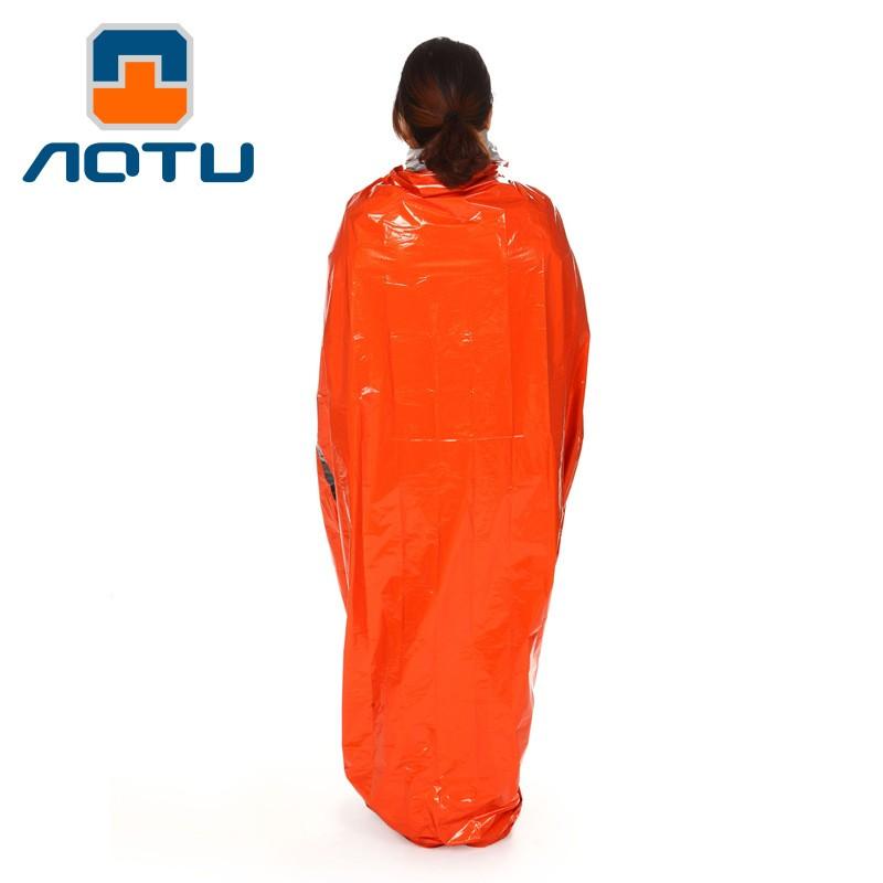 AT 緊急露宿袋應急急救睡袋隔熱保溫救生睡袋PE 橙色9040
