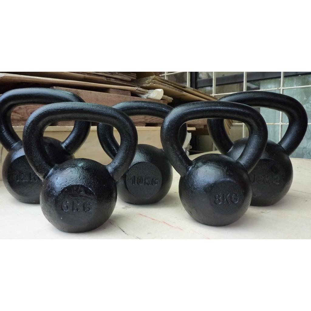 Kettlebell 壺鈴 6 48 公斤實心鑄鐵烤漆黑色浸塑壺鈴