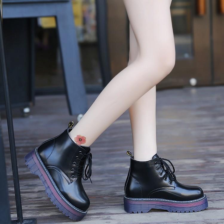 復古英倫風學院牛津高幫厚底馬丁靴松糕系帶高筒平底短靴女皮靴子