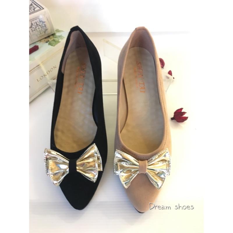 價300 臺灣 氣墊軟底甜美立體蝴蝶結尖頭平底娃娃鞋