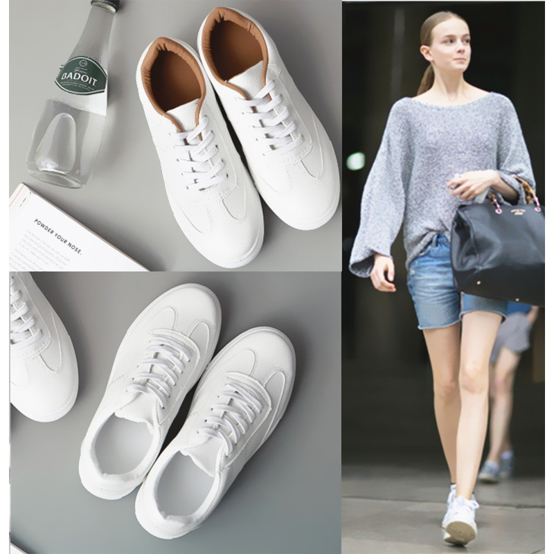 韓國范 百搭小白鞋真皮系帶透氣  鞋女情侶板鞋學生女鞋潮