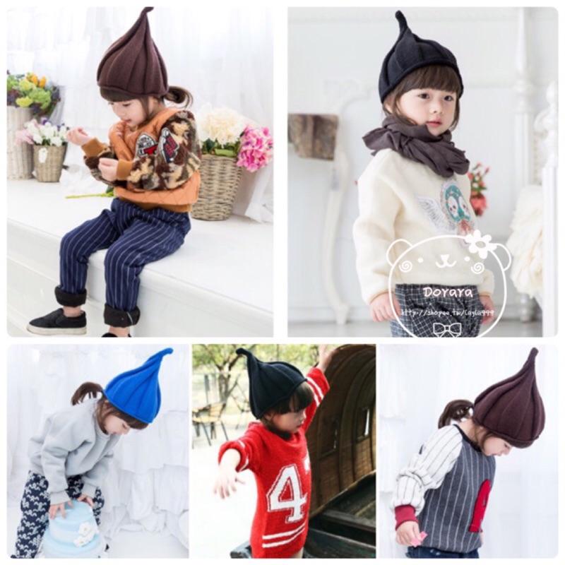 [Dorara ]韓國小精靈花仙子螺旋尖尖角針織毛線帽子男女童保暖冬帽