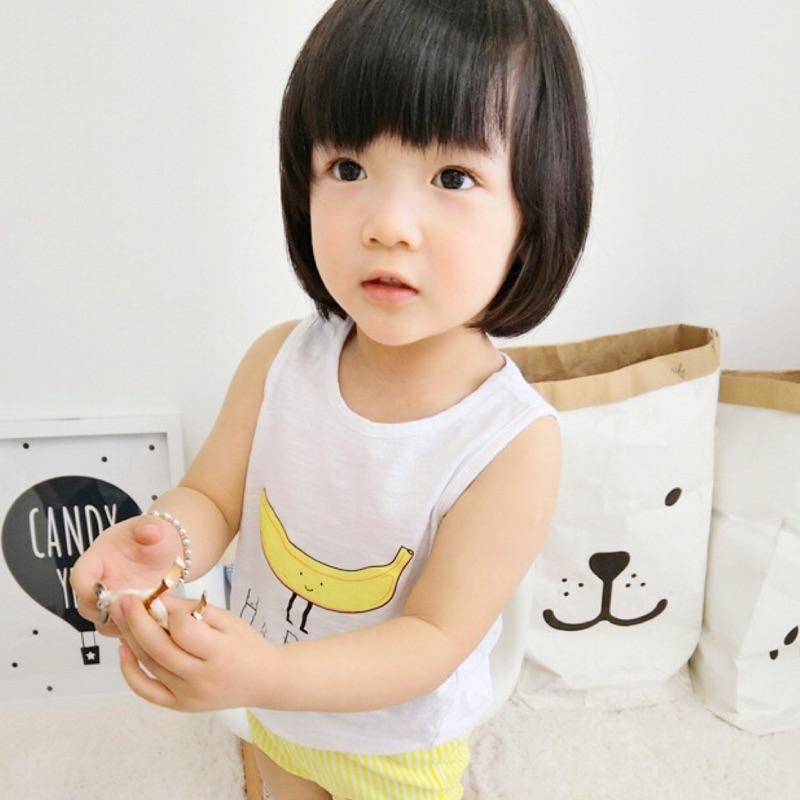蓁誠 男童女童兒童寶寶小童可愛舒服休閒香蕉字母印花竹節棉無袖圓領上衣背心