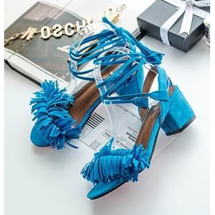 E816 016 涼鞋 性感女鞋羅馬綁帶超高跟鞋流蘇粗跟露趾涼鞋藍色37