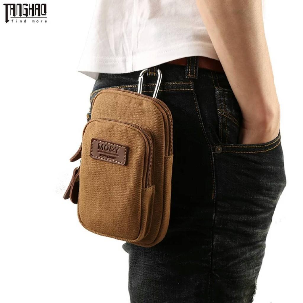 帆布男包跑步 包穿皮帶腰包多 手機包掛包休閒男士小包胸包