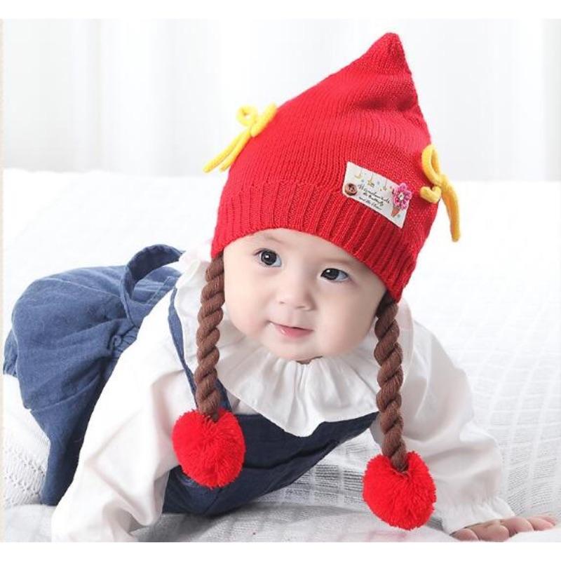 瀅瀅小舖BH4081 天意熊寶寶帽子 嬰幼兒保暖女童帽針織毛線帽嬰兒帽子