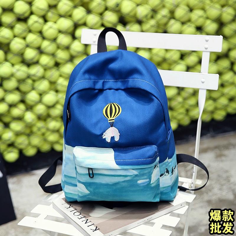 黑藍粉綠彩色正韓卡通帆布後背包防水旅行女生雙肩書包休閒包包肩背包