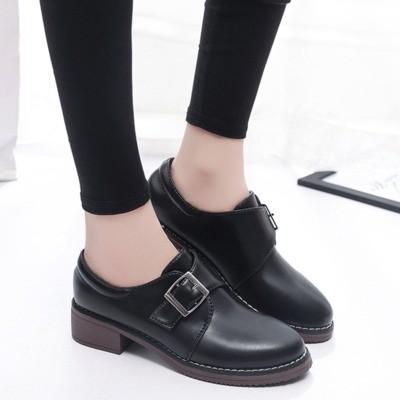 厚底小皮鞋女學生英倫風女鞋2017  學院復古圓頭單鞋子