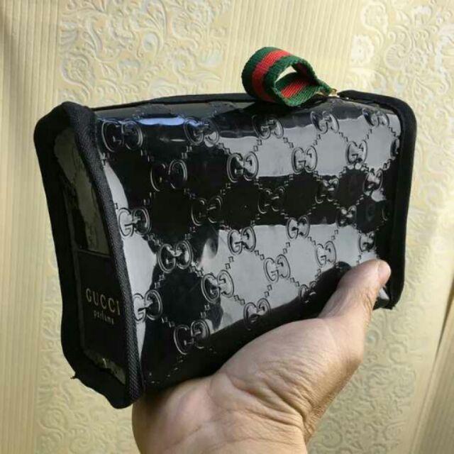 GUCCI 古馳專櫃贈品漆皮化妝包收納包果凍包手拿包洗漱包手機包零錢包防水大容量