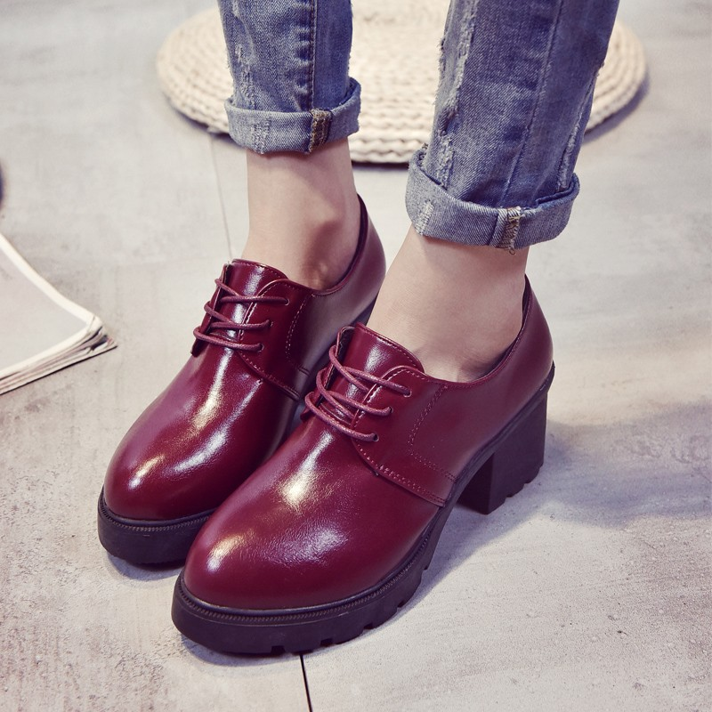 韓國范鞋 尖頭中跟 2016 皮鞋百搭粗跟英倫風復古女鞋單鞋春秋