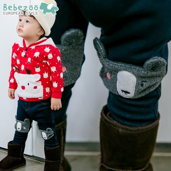 唯唯 韓國 bebezoo 冬款男女童加絨加厚聖誕麋鹿連帽上衣毛絨小熊內搭褲