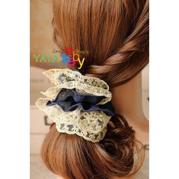 Yaya baby 髮飾奢華金蕾絲藏藍雪紡雙層大髮圈頭花髮繩大腸髮圈混搭3 件包郵(個)