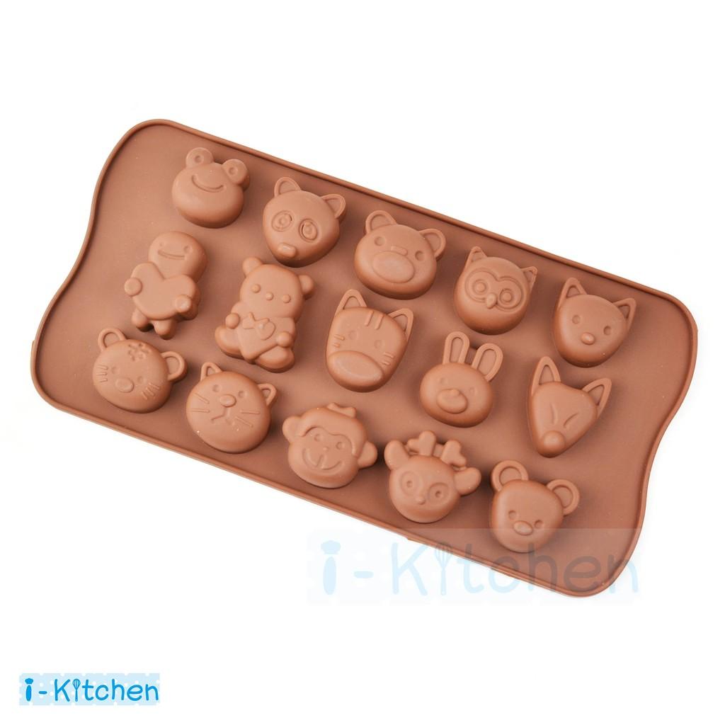 愛廚房15 種動物巧克力模具矽膠模具果凍冰塊模情人節I Kitchen
