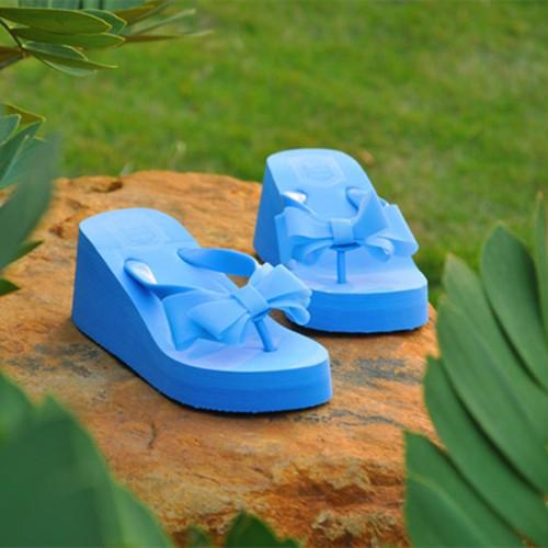 女士高跟蝴蝶結人字拖防滑厚底松糕坡跟沙灘夾腳涼拖鞋潮