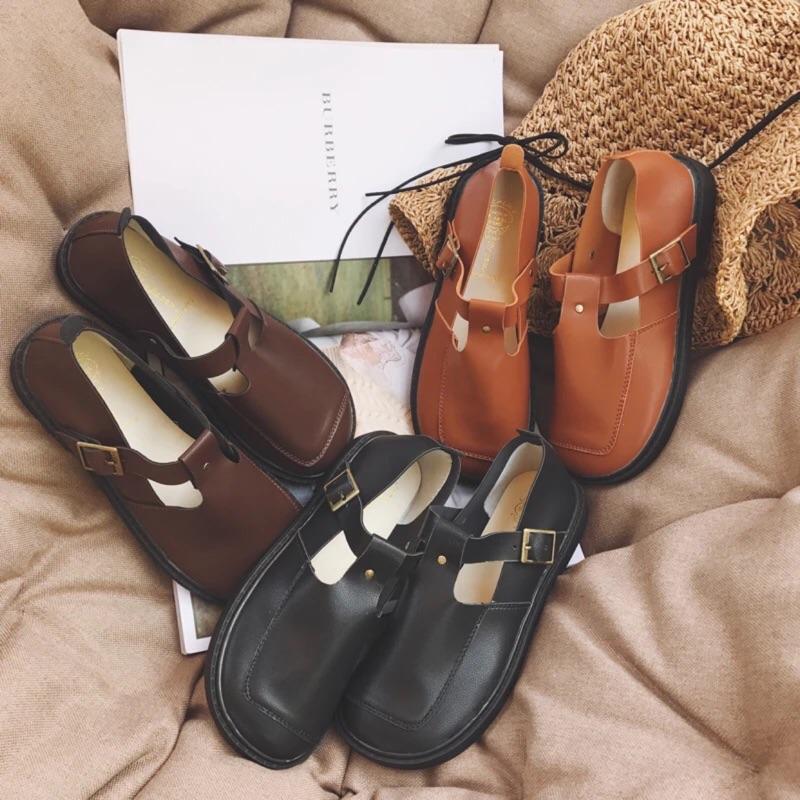實拍日系復古學院風圓頭娃娃鞋✨英倫風平底鞋小皮鞋丁字鞋